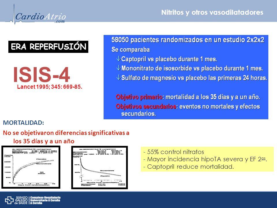Nitritos y otros vasodilatadores ERA REPERFUSIÓN ISIS-4 Lancet 1995; 345: 669-85. - 55% control nitratos - Mayor incidencia hipoTA severa y EF 2 os. -