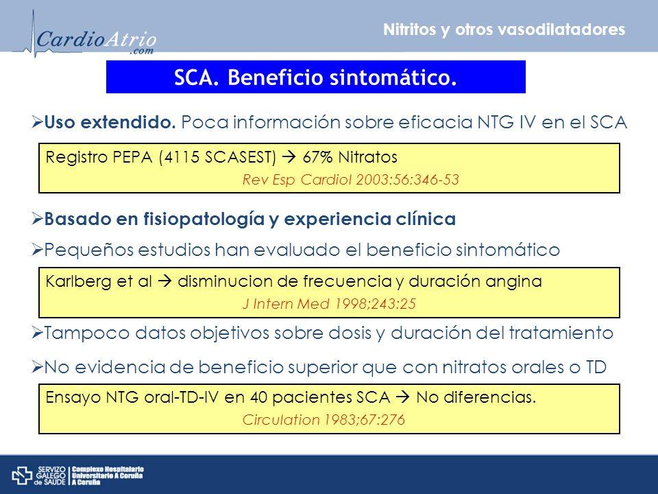 Nitritos y otros vasodilatadores SCA. Beneficio sintomático. Uso extendido. Poca información sobre eficacia NTG IV en el SCA Basado en fisiopatología