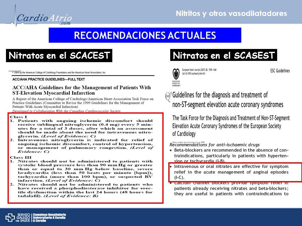 Nitritos y otros vasodilatadores RECOMENDACIONES ACTUALES Nitratos en el SCACESTNitratos en el SCASEST