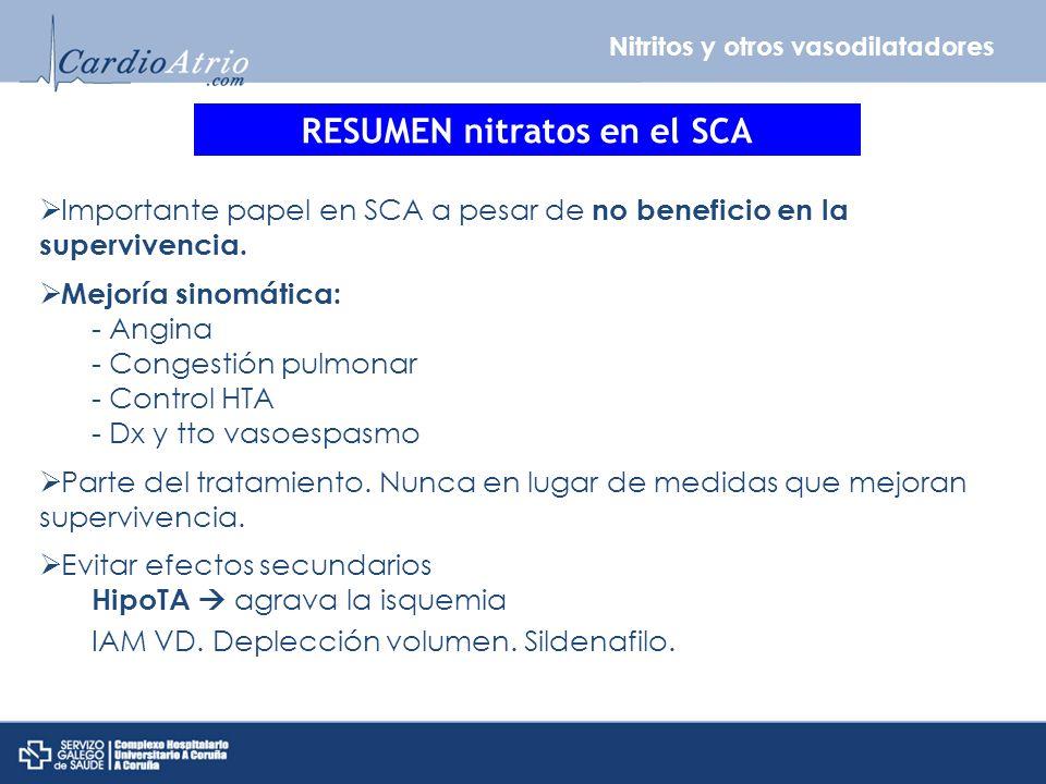 Nitritos y otros vasodilatadores RESUMEN nitratos en el SCA Importante papel en SCA a pesar de no beneficio en la supervivencia. Mejoría sinomática: -