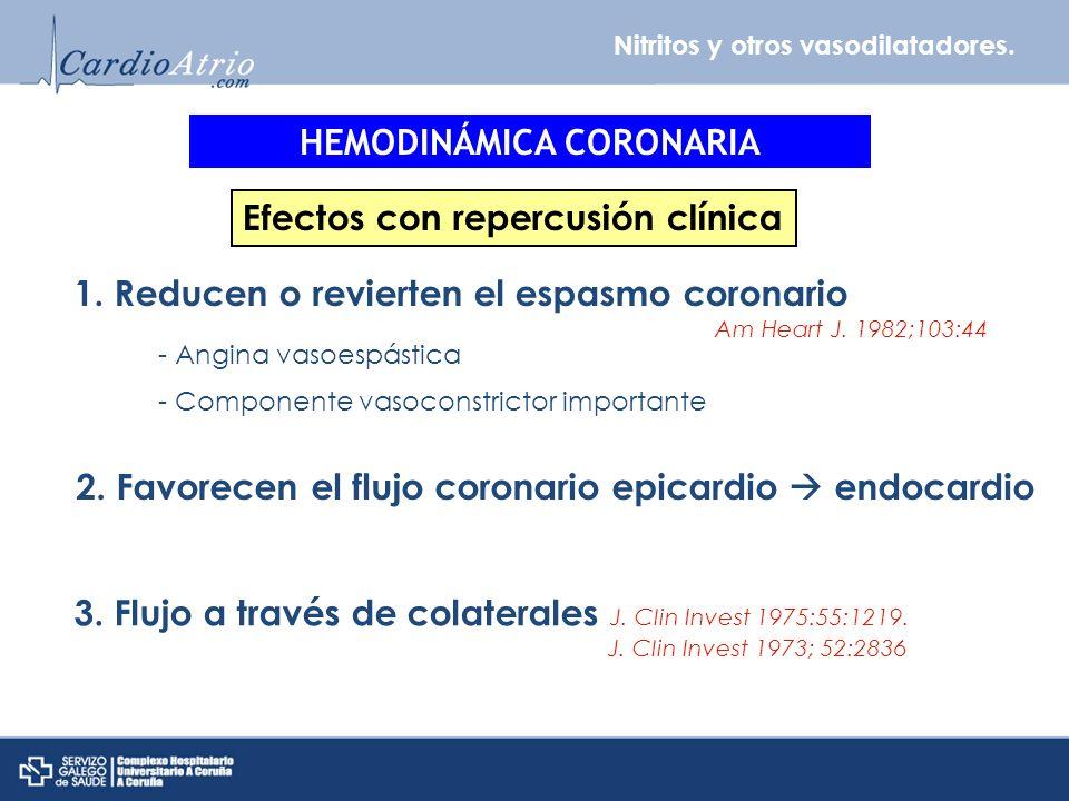 Nitritos y otros vasodilatadores. HEMODINÁMICA CORONARIA Efectos con repercusión clínica 1.Reducen o revierten el espasmo coronario Am Heart J. 1982;1