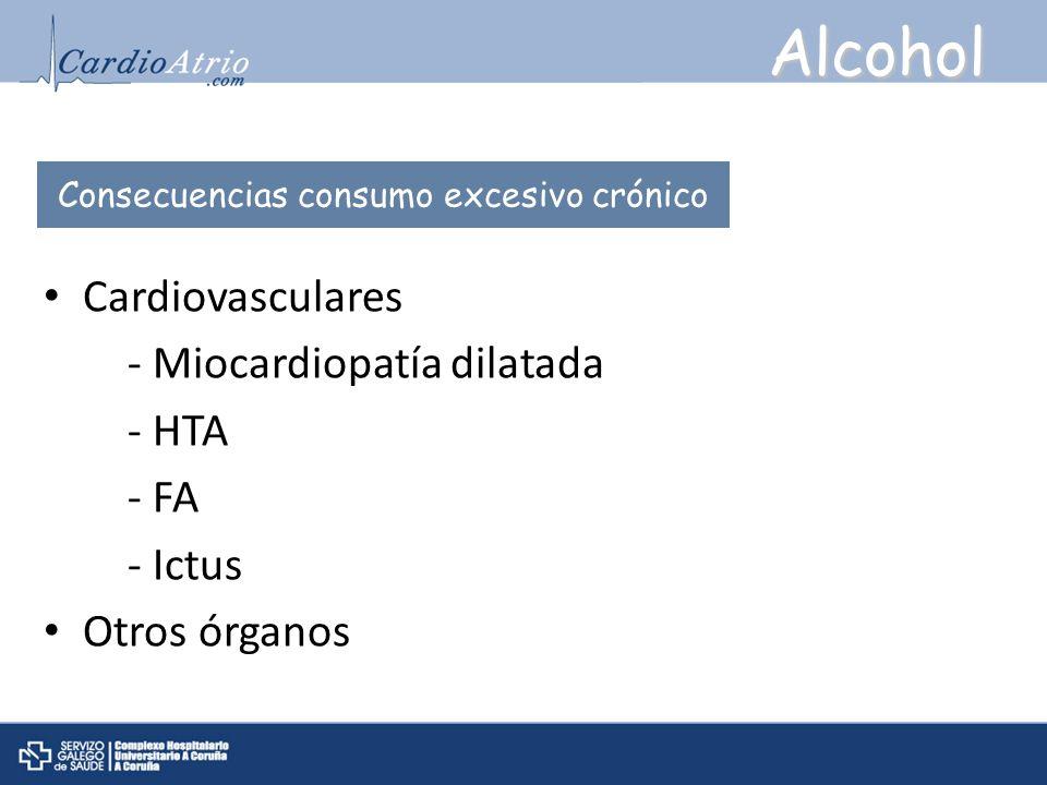 Alcohol Cardiovasculares - Miocardiopatía dilatada - HTA - FA - Ictus Otros órganos Consecuencias consumo excesivo crónico