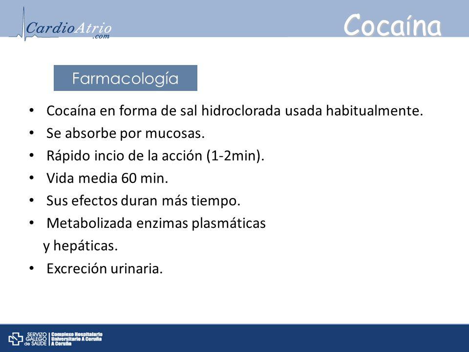 Coca í na Cocaína en forma de sal hidroclorada usada habitualmente. Se absorbe por mucosas. Rápido incio de la acción (1-2min). Vida media 60 min. Sus