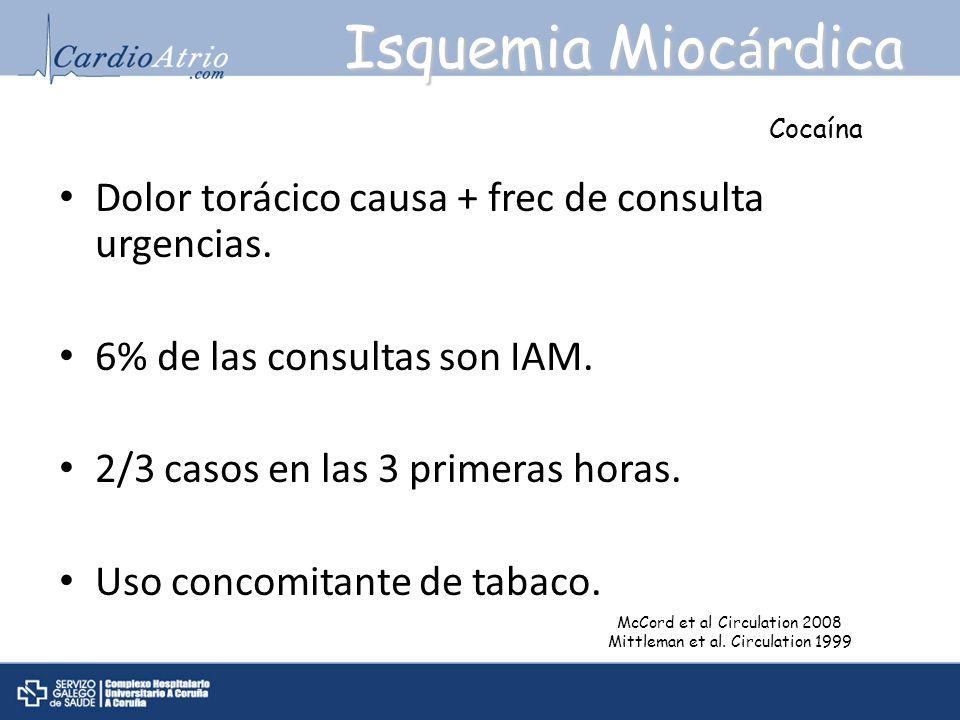 Isquemia Mioc á rdica Dolor torácico causa + frec de consulta urgencias. 6% de las consultas son IAM. 2/3 casos en las 3 primeras horas. Uso concomita
