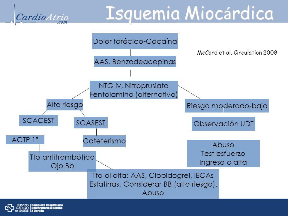 Isquemia Mioc á rdica Dolor torácico-Cocaína AAS, Benzodeacepinas NTG iv, Nitroprusiato Fentolamina (alternativa) Alto riesgo SCACEST SCASEST ACTP 1ª