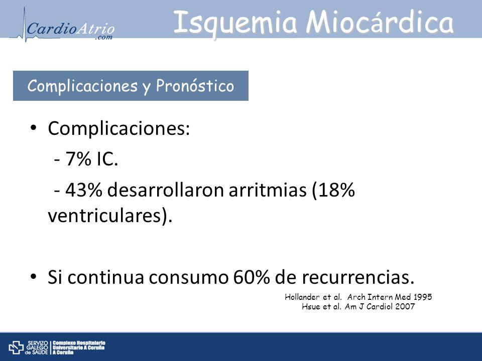 Complicaciones: - 7% IC. - 43% desarrollaron arritmias (18% ventriculares). Si continua consumo 60% de recurrencias. Isquemia Mioc á rdica Complicacio