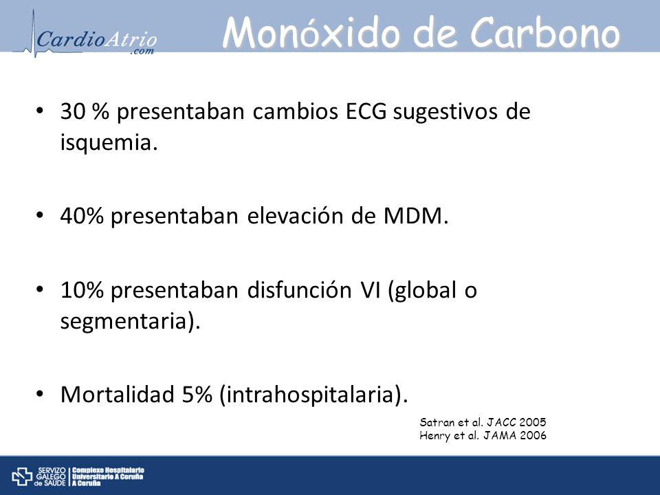 30 % presentaban cambios ECG sugestivos de isquemia. 40% presentaban elevación de MDM. 10% presentaban disfunción VI (global o segmentaria). Mortalida