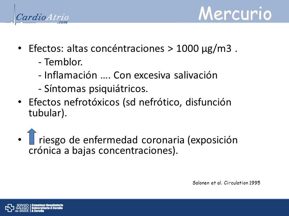 Efectos: altas concéntraciones > 1000 μg/m3. - Temblor. - Inflamación …. Con excesiva salivación - Síntomas psiquiátricos. Efectos nefrotóxicos (sd ne