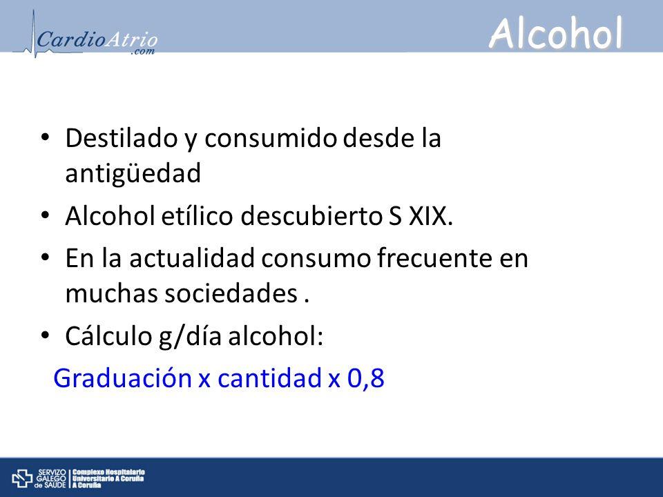 Alcohol Destilado y consumido desde la antigüedad Alcohol etílico descubierto S XIX. En la actualidad consumo frecuente en muchas sociedades. Cálculo