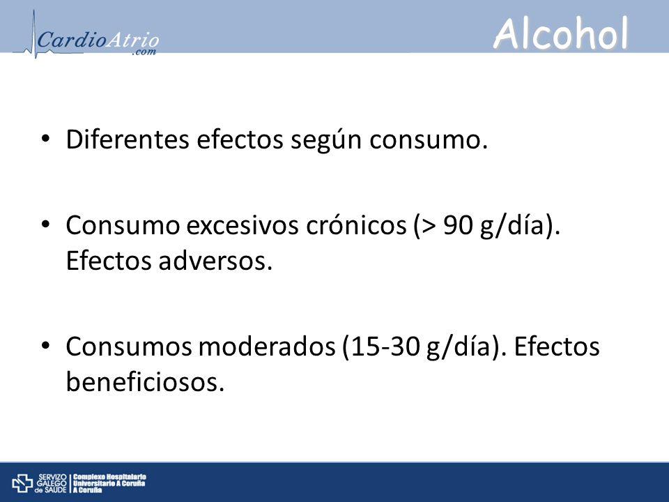 Alcohol Diferentes efectos según consumo. Consumo excesivos crónicos (> 90 g/día). Efectos adversos. Consumos moderados (15-30 g/día). Efectos benefic