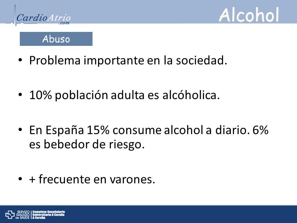 Alcohol Problema importante en la sociedad. 10% población adulta es alcóholica. En España 15% consume alcohol a diario. 6% es bebedor de riesgo. + fre