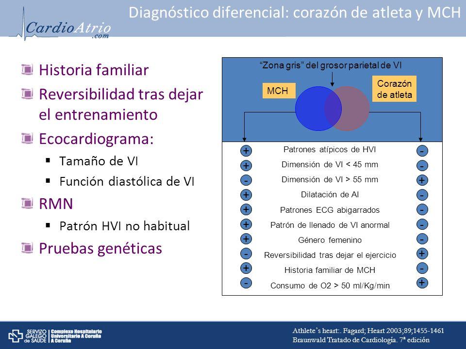 Diagnóstico diferencial: corazón de atleta y MCH Historia familiar Reversibilidad tras dejar el entrenamiento Ecocardiograma: Tamaño de VI Función dia