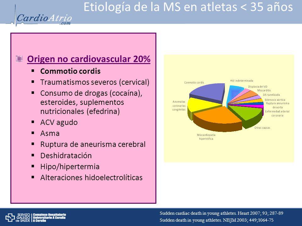 Etiología de la MS en atletas < 35 años Origen no cardiovascular 20% Commotio cordis Traumatismos severos (cervical) Consumo de drogas (cocaína), este