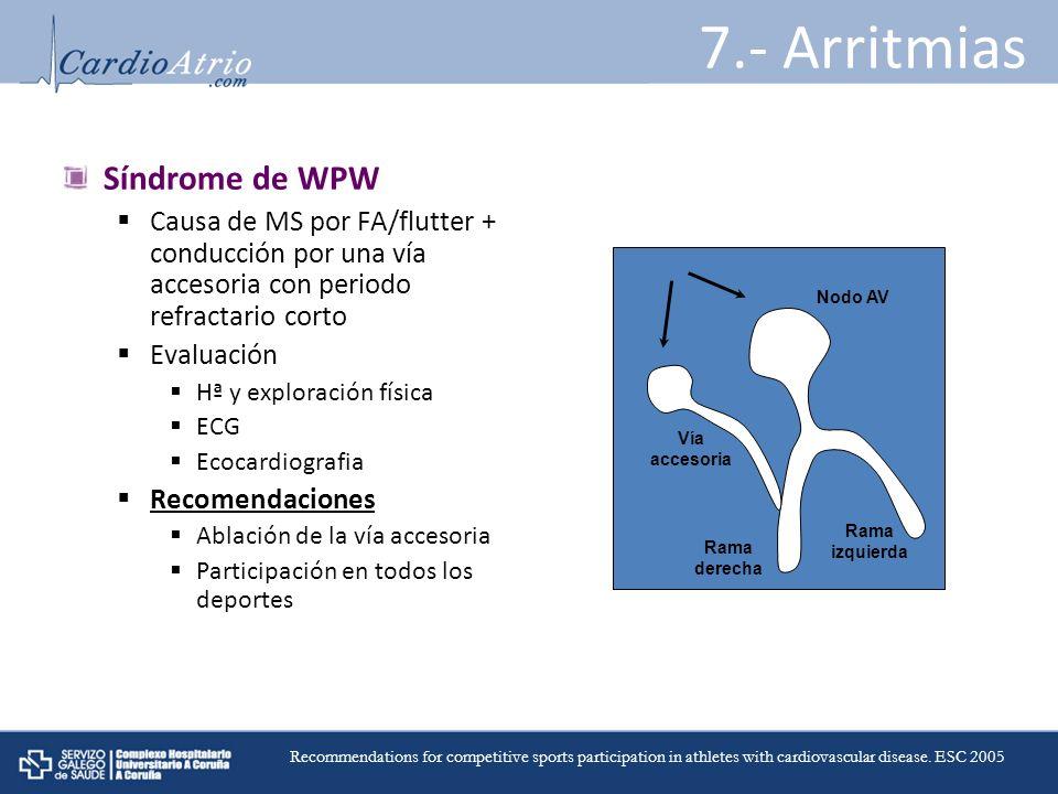 7.- Arritmias Síndrome de WPW Causa de MS por FA/flutter + conducción por una vía accesoria con periodo refractario corto Evaluación Hª y exploración