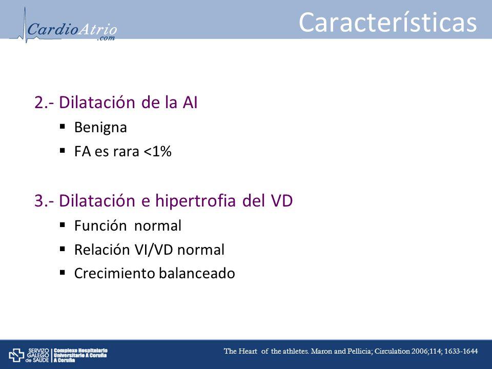 Características 2.- Dilatación de la AI Benigna FA es rara <1% 3.- Dilatación e hipertrofia del VD Función normal Relación VI/VD normal Crecimiento ba