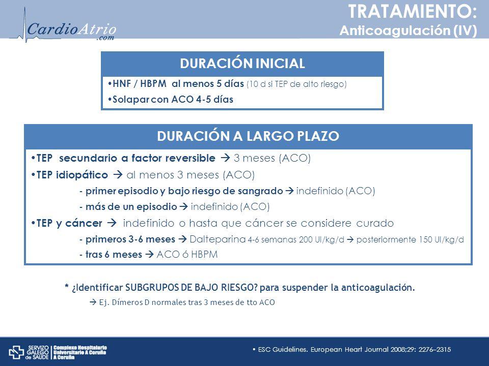 HNF / HBPM al menos 5 días (10 d si TEP de alto riesgo) Solapar con ACO 4-5 días ESC Guidelines. European Heart Journal 2008;29: 2276–2315 TEP secunda