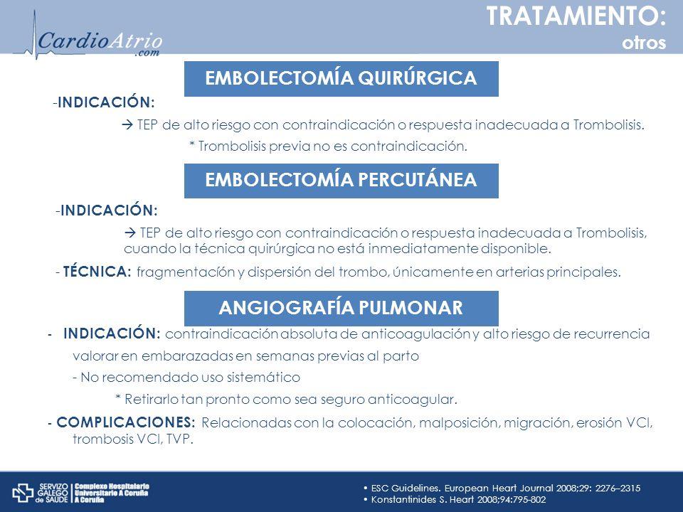- INDICACIÓN: TEP de alto riesgo con contraindicación o respuesta inadecuada a Trombolisis. * Trombolisis previa no es contraindicación. ESC Guideline