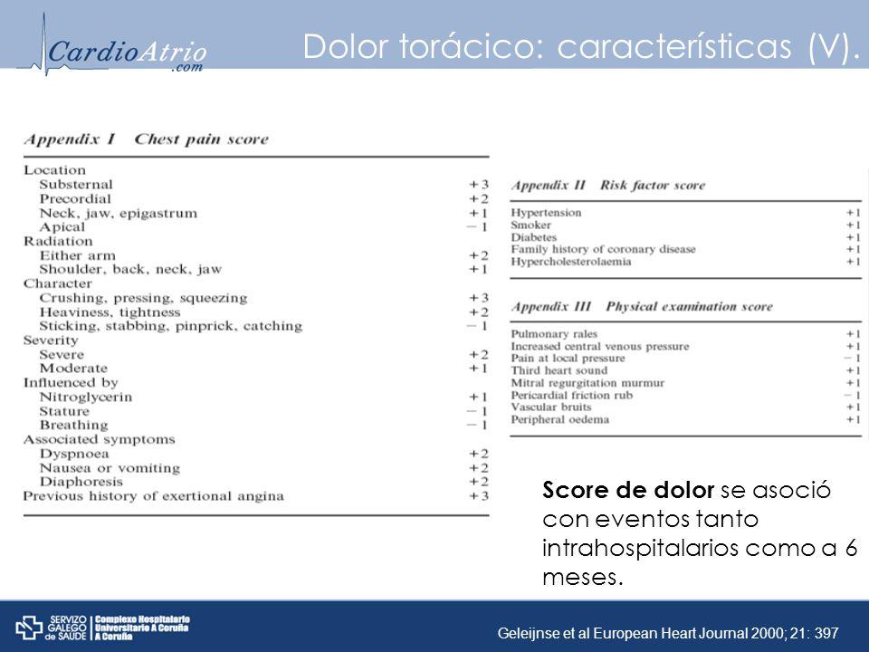 Score de dolor se asoció con eventos tanto intrahospitalarios como a 6 meses. Dolor torácico: características (V). Geleijnse et al European Heart Jour