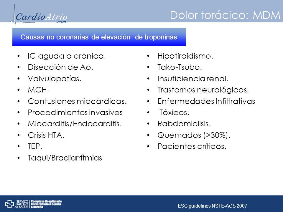 Dolor torácico: MDM IC aguda o crónica. Disección de Ao. Valvulopatías. MCH. Contusiones miocárdicas. Procedimientos invasivos Miocarditis/Endocarditi