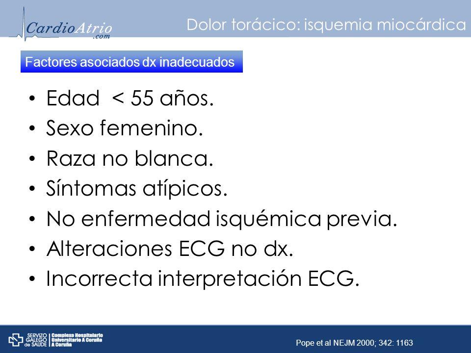 Dolor torácico: isquemia miocárdica Edad < 55 años. Sexo femenino. Raza no blanca. Síntomas atípicos. No enfermedad isquémica previa. Alteraciones ECG