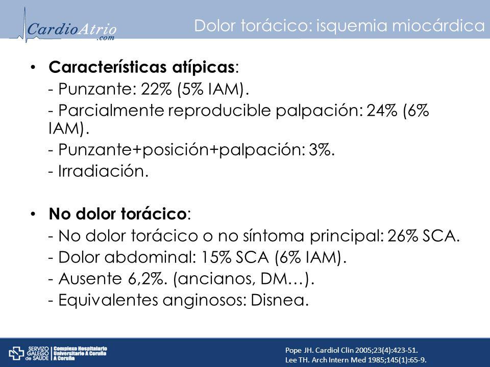 Dolor torácico: isquemia miocárdica Características atípicas : - Punzante: 22% (5% IAM). - Parcialmente reproducible palpación: 24% (6% IAM). - Punzan