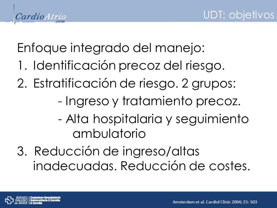 UDT: objetivos Enfoque integrado del manejo: 1.Identificación precoz del riesgo. 2.Estratificación de riesgo. 2 grupos: - Ingreso y tratamiento precoz
