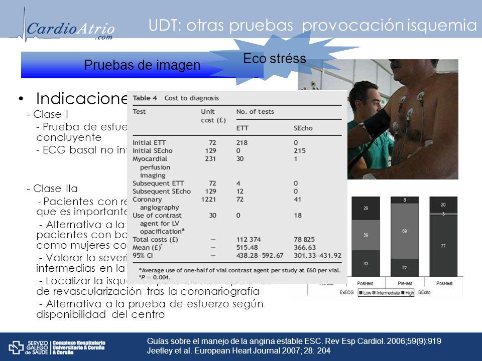 UDT: otras pruebas provocación isquemia Indicaciones: - Clase I - Prueba de esfuerzo no diagnóstica o no concluyente - ECG basal no interpretable - Cl