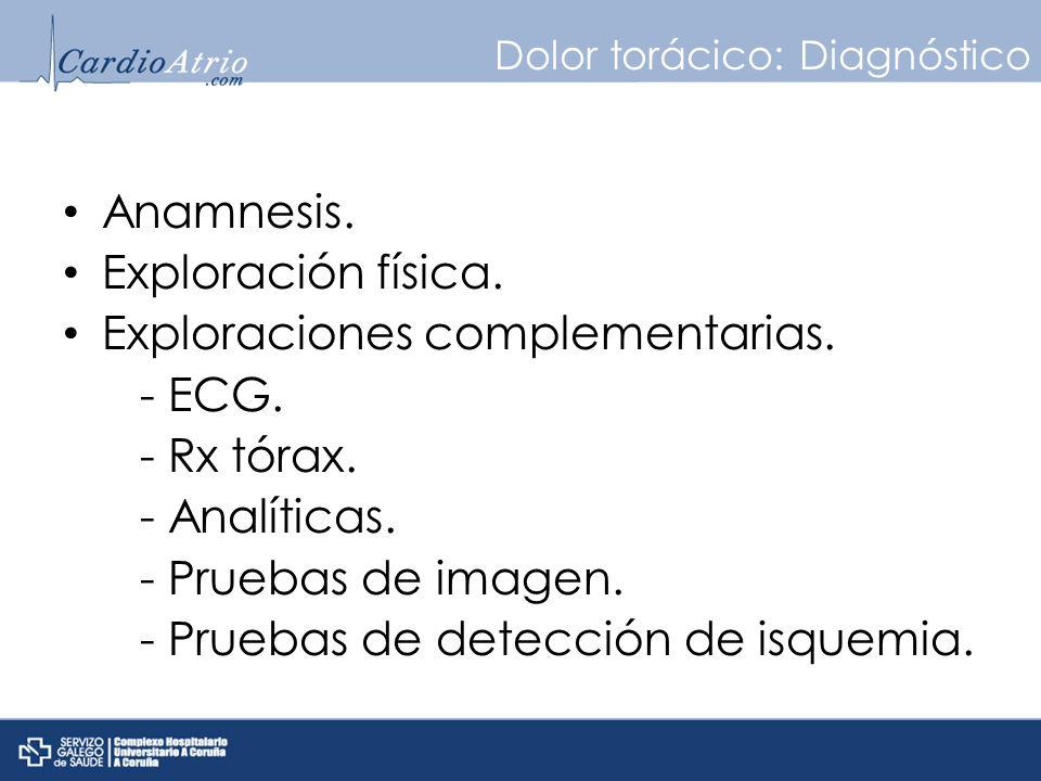 Dolor torácico: Diagnóstico Anamnesis. Exploración física. Exploraciones complementarias. - ECG. - Rx tórax. - Analíticas. - Pruebas de imagen. - Prue