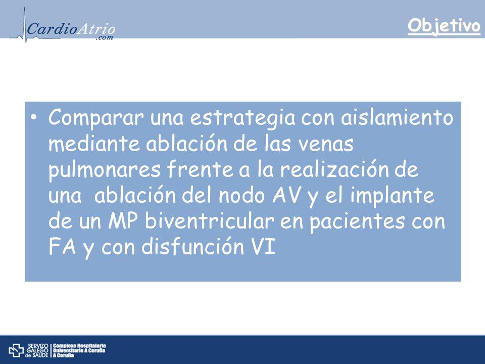 Objetivo Comparar una estrategia con aislamiento mediante ablación de las venas pulmonares frente a la realización de una ablación del nodo AV y el implante de un MP biventricular en pacientes con FA y con disfunción VI