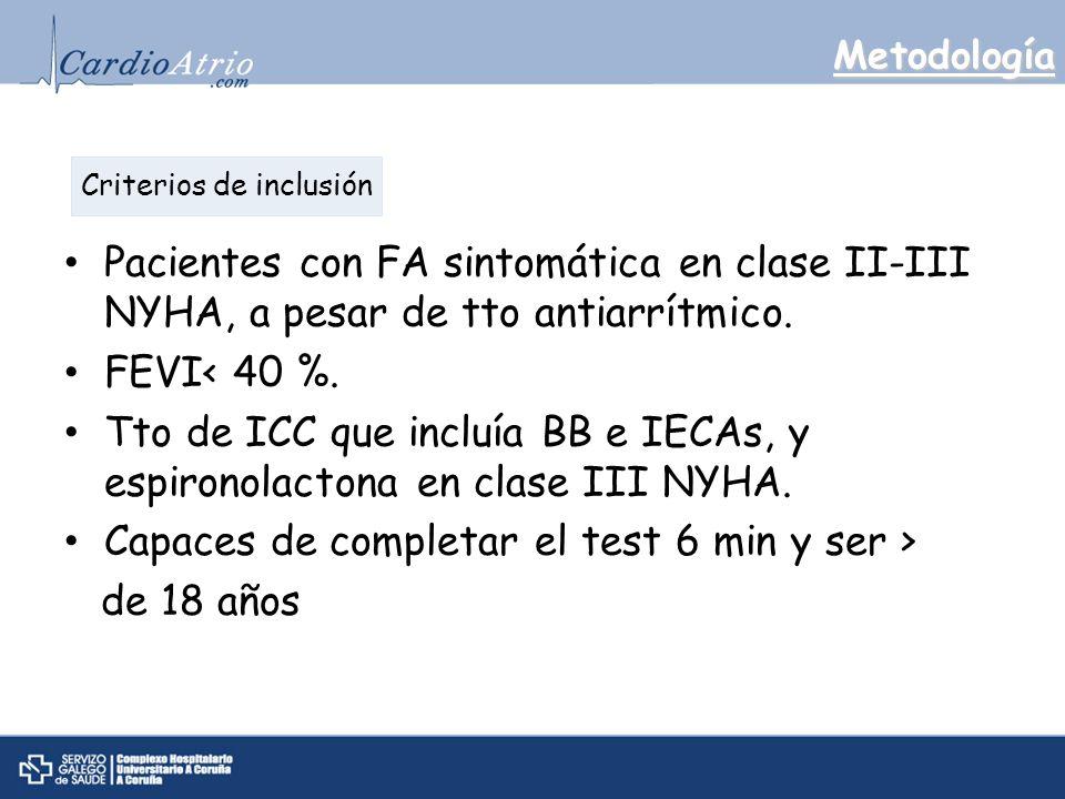 Metodología Pacientes con FA sintomática en clase II-III NYHA, a pesar de tto antiarrítmico.