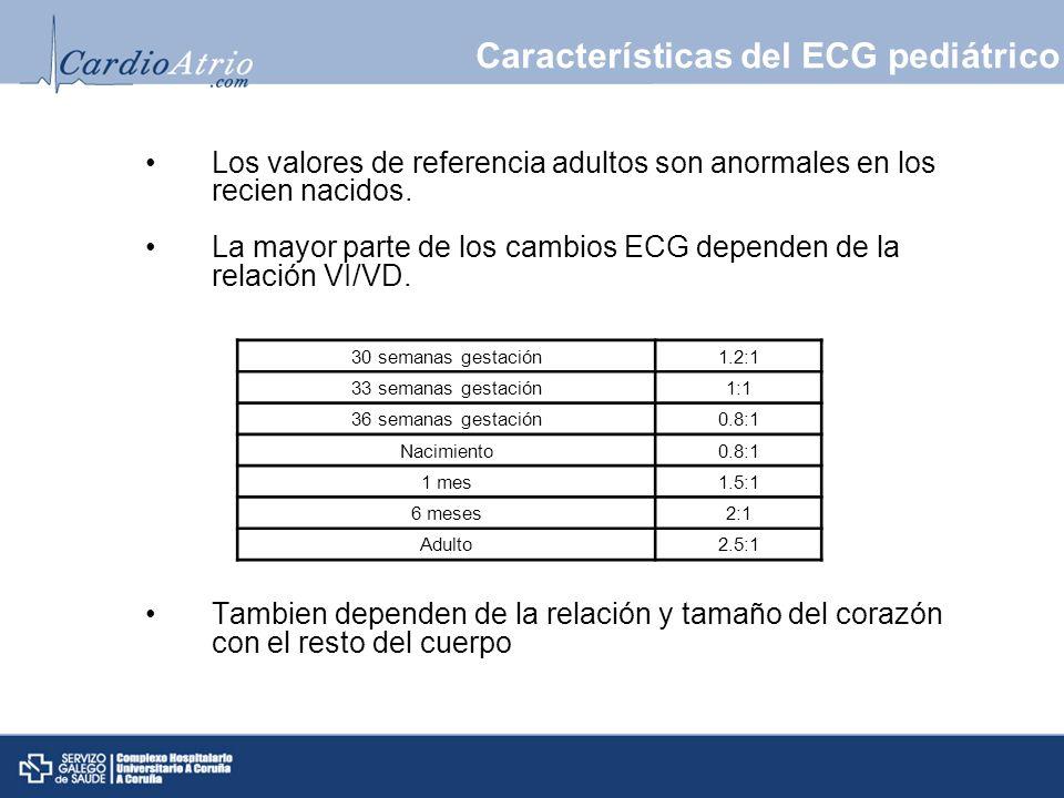 Los valores de referencia adultos son anormales en los recien nacidos. La mayor parte de los cambios ECG dependen de la relación VI/VD. Tambien depend