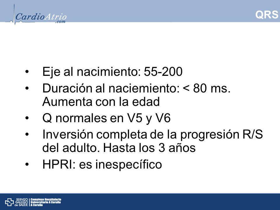 QRS Eje al nacimiento: 55-200 Duración al naciemiento: < 80 ms. Aumenta con la edad Q normales en V5 y V6 Inversión completa de la progresión R/S del