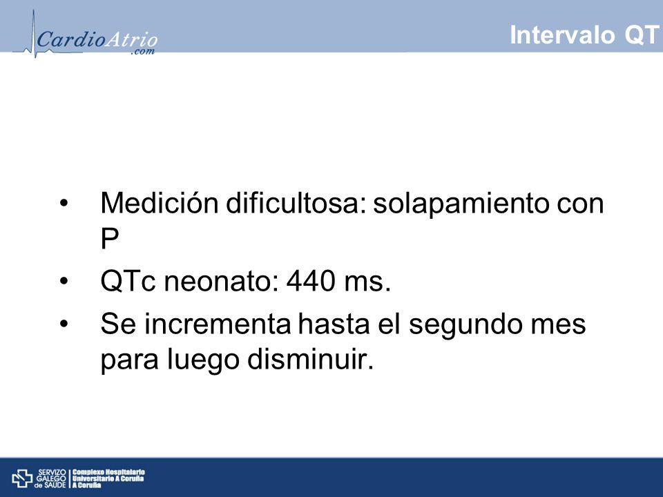 Intervalo QT Medición dificultosa: solapamiento con P QTc neonato: 440 ms. Se incrementa hasta el segundo mes para luego disminuir.