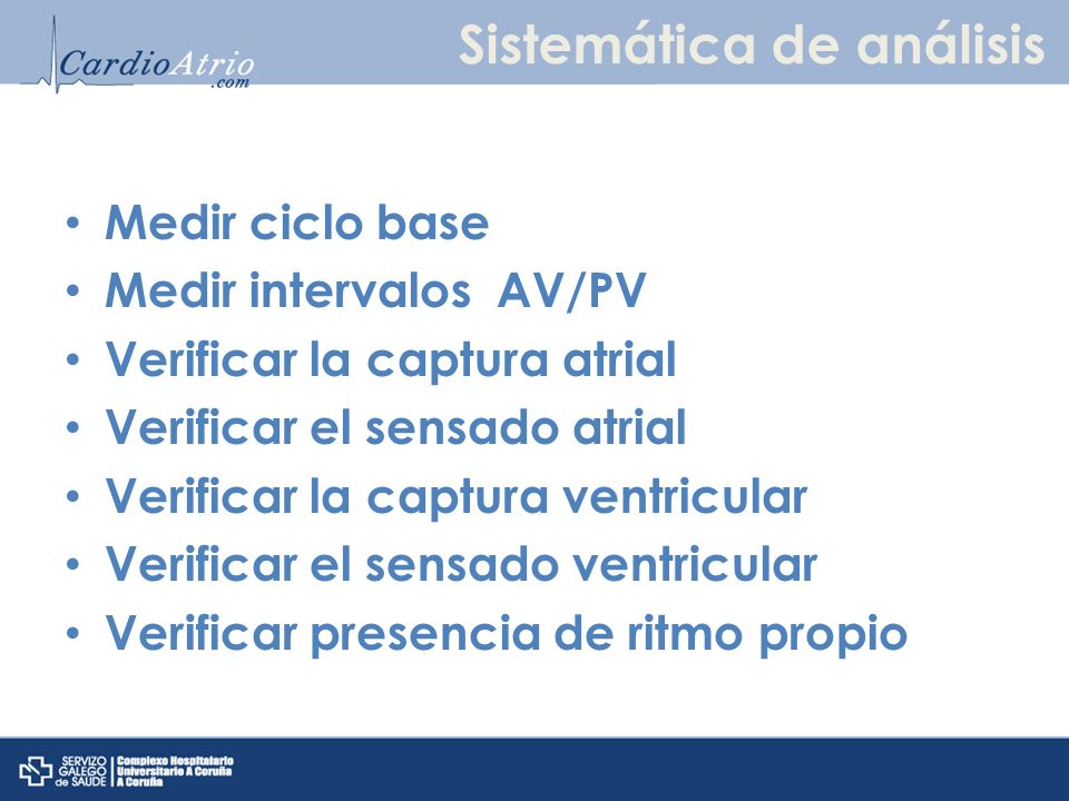 Sistemática de análisis Medir ciclo base Medir intervalos AV/PV Verificar la captura atrial Verificar el sensado atrial Verificar la captura ventricul