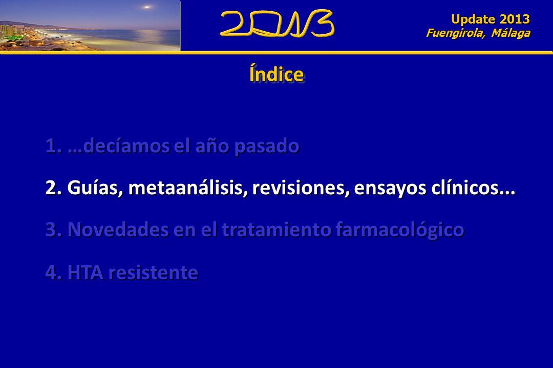 Update 2010 Fuengirola, Málaga ÍndiceÍndice Update 2013 Fuengirola, Málaga 1. …decíamos el año pasado 2. Guías, metaanálisis, revisiones, ensayos clín