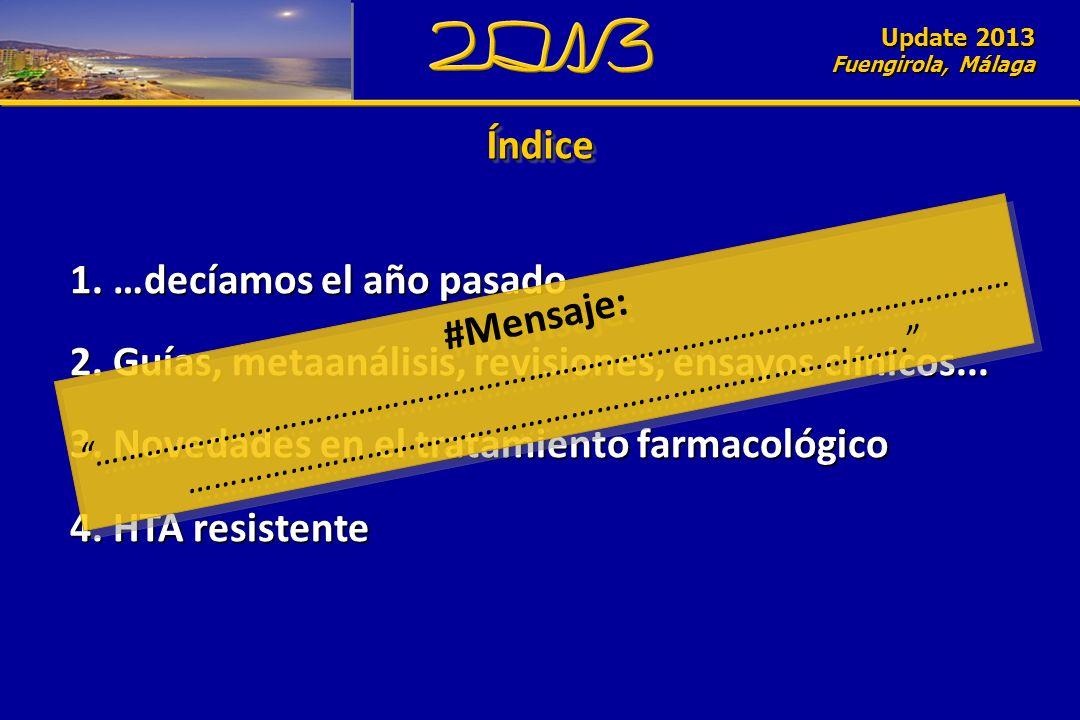 Update 2010 Fuengirola, Málaga ÍndiceÍndice 1. …decíamos el año pasado 2. Guías, metaanálisis, revisiones, ensayos clínicos... 3. Novedades en el trat