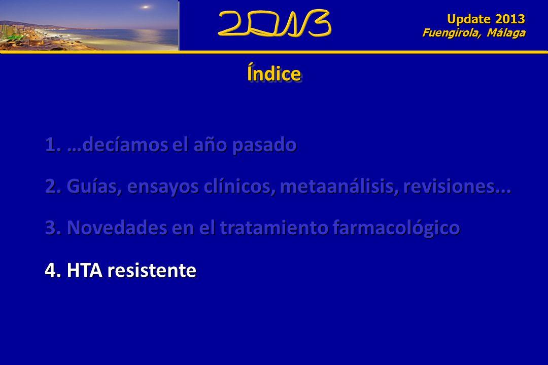 Update 2010 Fuengirola, Málaga ÍndiceÍndice Update 2013 Fuengirola, Málaga 1. …decíamos el año pasado 2. Guías, ensayos clínicos, metaanálisis, revisi