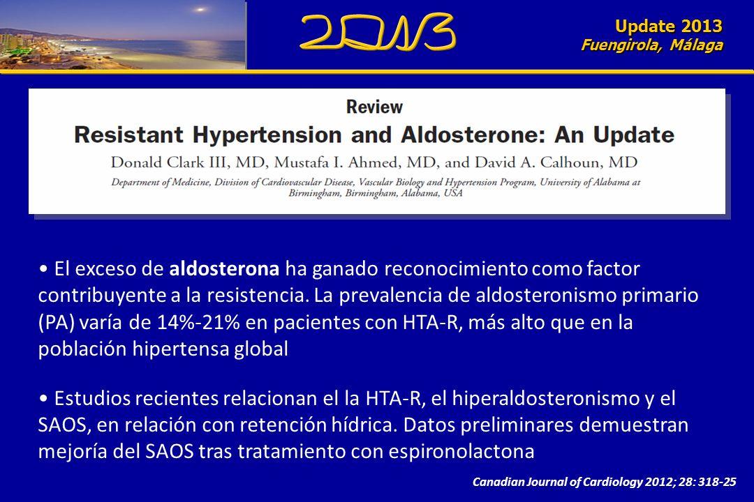 Update 2010 Fuengirola, Málaga Update 2013 Fuengirola, Málaga Canadian Journal of Cardiology 2012; 28: 318-25 El exceso de aldosterona ha ganado reconocimiento como factor contribuyente a la resistencia.