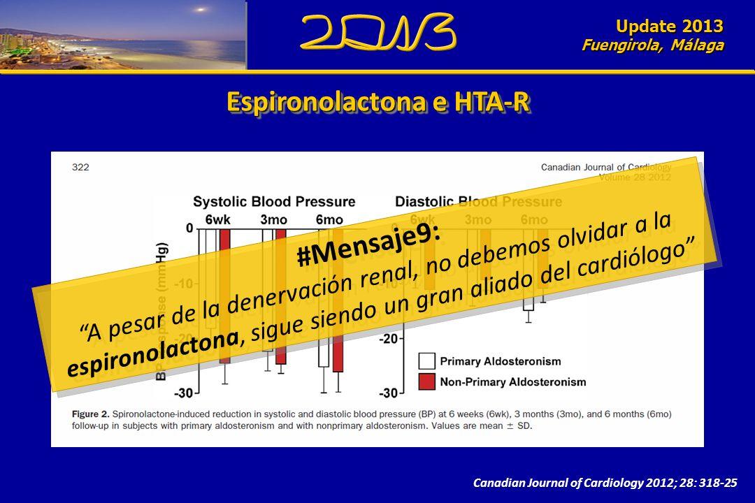 Update 2010 Fuengirola, Málaga Update 2013 Fuengirola, Málaga Canadian Journal of Cardiology 2012; 28: 318-25 Espironolactona e HTA-R #Mensaje9: A pesar de la denervación renal, no debemos olvidar a la espironolactona, sigue siendo un gran aliado del cardiólogo #Mensaje9: A pesar de la denervación renal, no debemos olvidar a la espironolactona, sigue siendo un gran aliado del cardiólogo