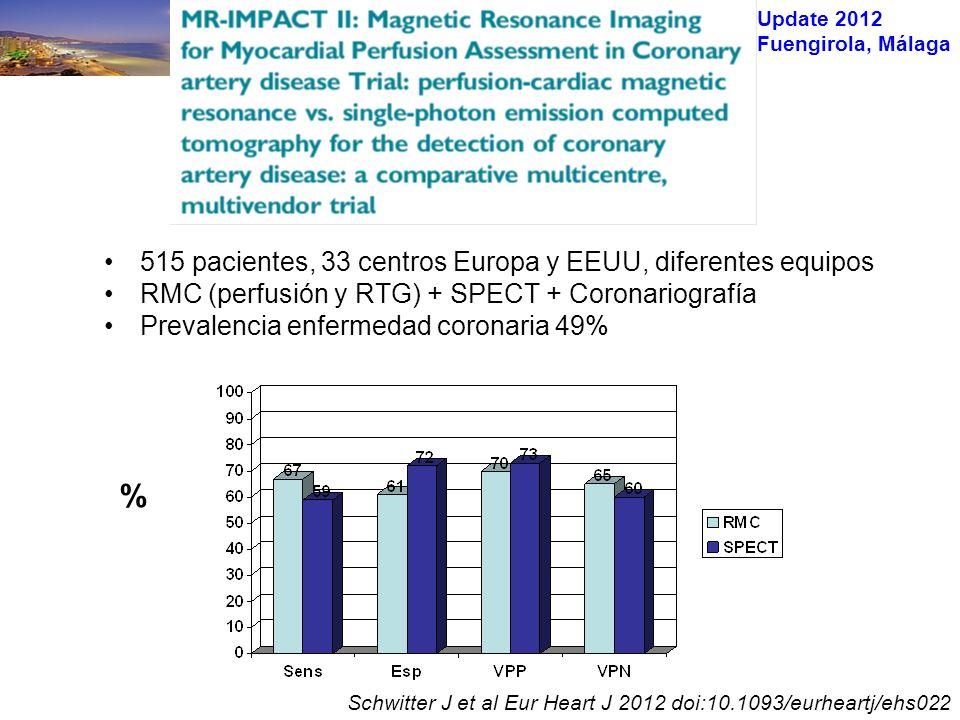 Update 2012 Fuengirola, Málaga 515 pacientes, 33 centros Europa y EEUU, diferentes equipos RMC (perfusión y RTG) + SPECT + Coronariografía Prevalencia enfermedad coronaria 49% Schwitter J et al Eur Heart J 2012 doi:10.1093/eurheartj/ehs022 %