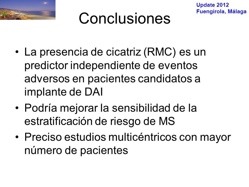 Update 2012 Fuengirola, Málaga Conclusiones La presencia de cicatriz (RMC) es un predictor independiente de eventos adversos en pacientes candidatos a implante de DAI Podría mejorar la sensibilidad de la estratificación de riesgo de MS Preciso estudios multicéntricos con mayor número de pacientes