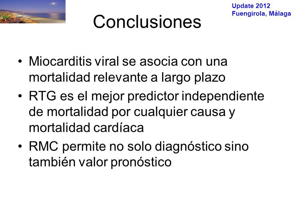 Update 2012 Fuengirola, Málaga Conclusiones Miocarditis viral se asocia con una mortalidad relevante a largo plazo RTG es el mejor predictor independiente de mortalidad por cualquier causa y mortalidad cardíaca RMC permite no solo diagnóstico sino también valor pronóstico