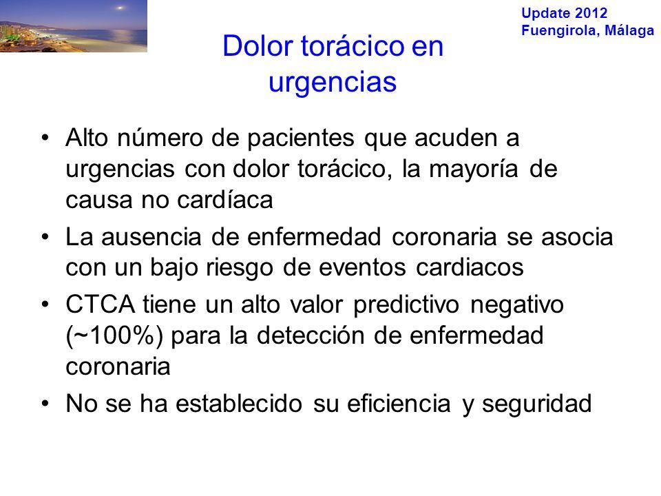 Update 2012 Fuengirola, Málaga Dolor torácico en urgencias Alto número de pacientes que acuden a urgencias con dolor torácico, la mayoría de causa no cardíaca La ausencia de enfermedad coronaria se asocia con un bajo riesgo de eventos cardiacos CTCA tiene un alto valor predictivo negativo (~100%) para la detección de enfermedad coronaria No se ha establecido su eficiencia y seguridad