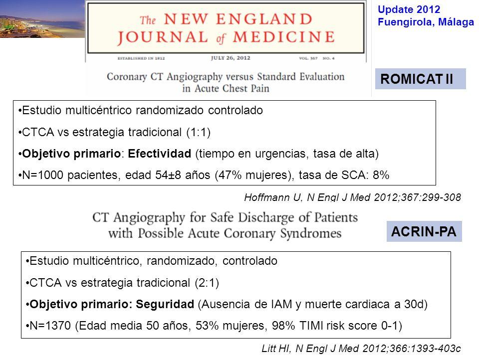 Update 2012 Fuengirola, Málaga Litt HI, N Engl J Med 2012;366:1393-403c Hoffmann U, N Engl J Med 2012;367:299-308 Estudio multicéntrico randomizado controlado CTCA vs estrategia tradicional (1:1) Objetivo primario: Efectividad (tiempo en urgencias, tasa de alta) N=1000 pacientes, edad 54±8 años (47% mujeres), tasa de SCA: 8% Estudio multicéntrico, randomizado, controlado CTCA vs estrategia tradicional (2:1) Objetivo primario: Seguridad (Ausencia de IAM y muerte cardiaca a 30d) N=1370 (Edad media 50 años, 53% mujeres, 98% TIMI risk score 0-1) ROMICAT II ACRIN-PA