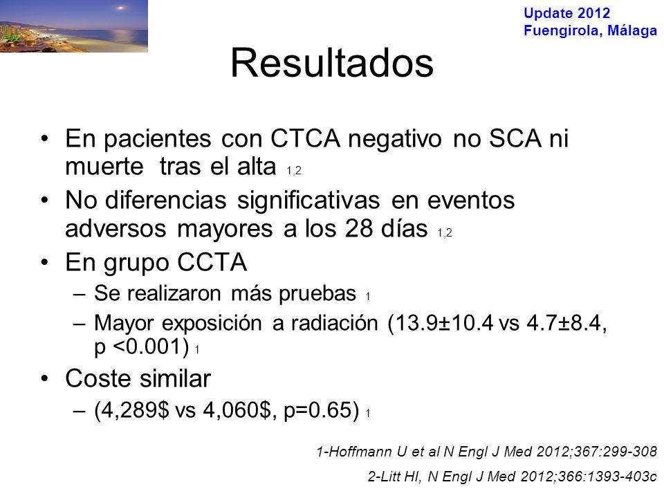 Update 2012 Fuengirola, Málaga N= 752 pacientes, Centro único UK RMC (perfusión,RTG, angio) ó SPECT + Coronariografía Prevalencia enfermedad coronaria 39% Greenwood JP et al Lancet 2012;379:453-60 %