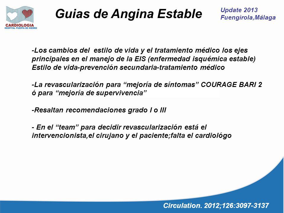 Update 2013 Fuengirola,Málaga Guias de Angina Estable Circulation. 2012;126:3097-3137 -Los cambios del estilo de vida y el tratamiento médico los ejes
