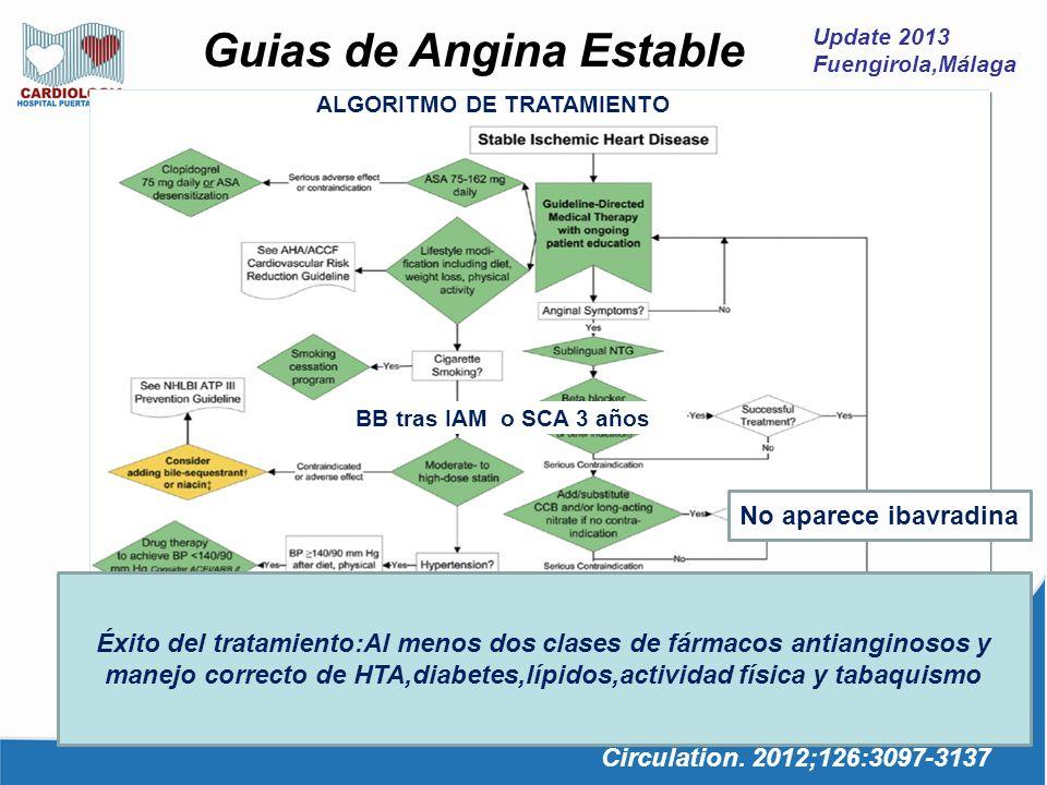 Update 2013 Fuengirola,Málaga Guias de Angina Estable Circulation. 2012;126:3097-3137 ALGORITMO DE TRATAMIENTO BB tras IAM o SCA 3 años HbA1c <7% en d