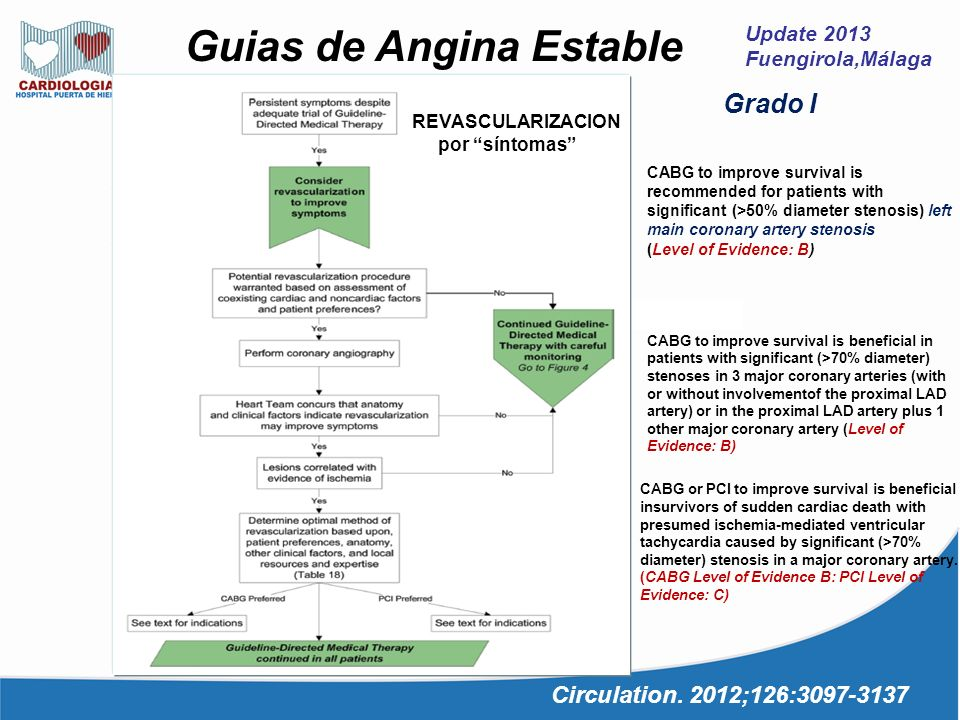 Update 2013 Fuengirola,Málaga Guias de Angina Estable Circulation. 2012;126:3097-3137 REVASULARIZACION supervivencia CABG to improve survival is recom