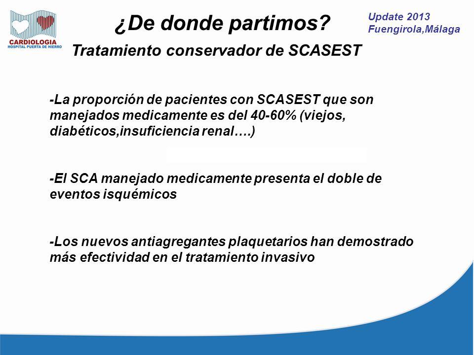 Update 2013 Fuengirola,Málaga ¿De donde partimos? Tratamiento conservador de SCASEST -La proporción de pacientes con SCASEST que son manejados medicam