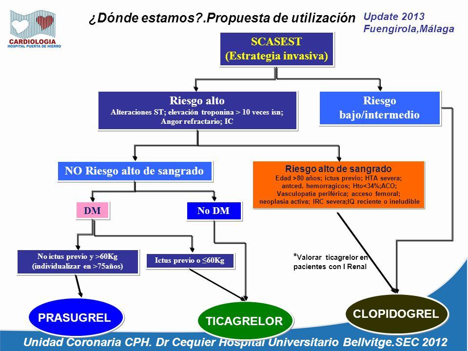 Update 2013 Fuengirola,Málaga ¿Dónde estamos?.Propuesta de utilización Unidad Coronaria CPH. Dr Cequier Hospital Universitario Bellvitge.SEC 2012 SCAS
